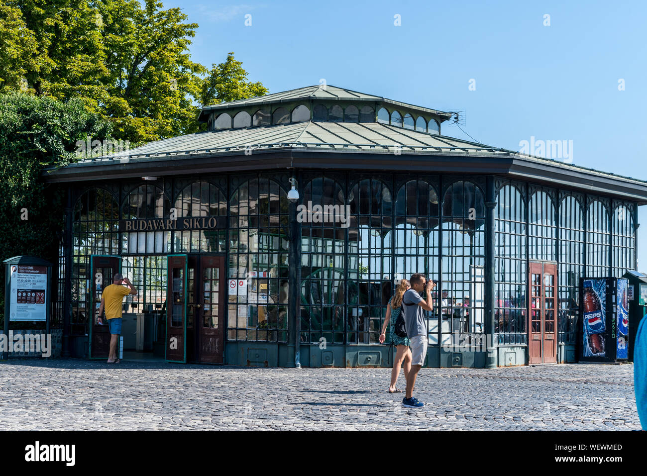 Budapest, Hungary - August 11, 2019: Budapest Castle Hill Funicular building Stock Photo