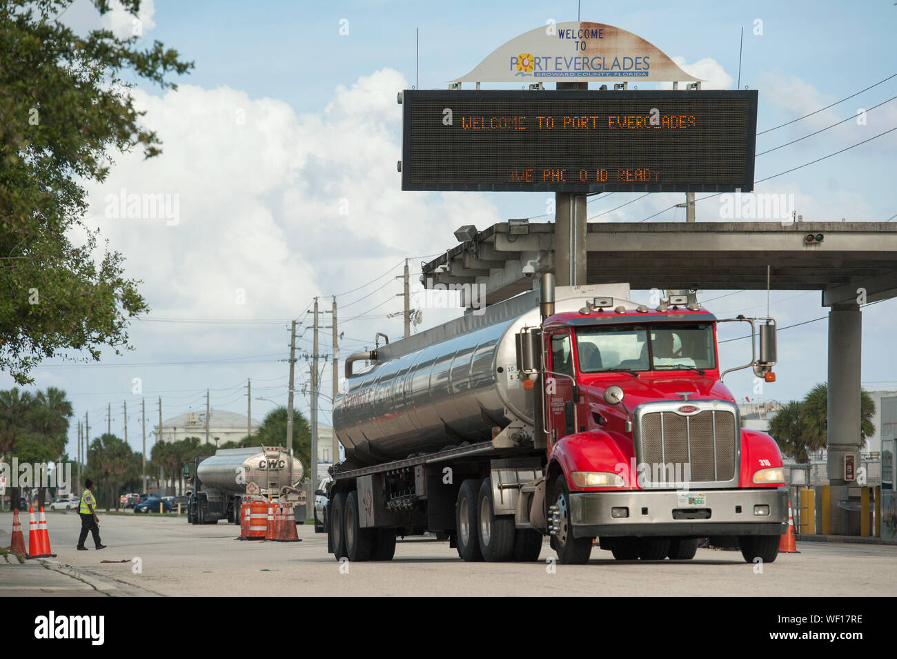 Fort Lauderdale, Florida, USA. 30th Aug, 2019. Fuel Tankers entering and leaving Port Everglades in Fort Lauderdale. Fuel demand in Florida is on the increase as residents stock up with gas in enticipation of Hurricane Dorian. Credit: Orit Ben-Ezzer/ZUMA Wire/Alamy Live News Stock Photo