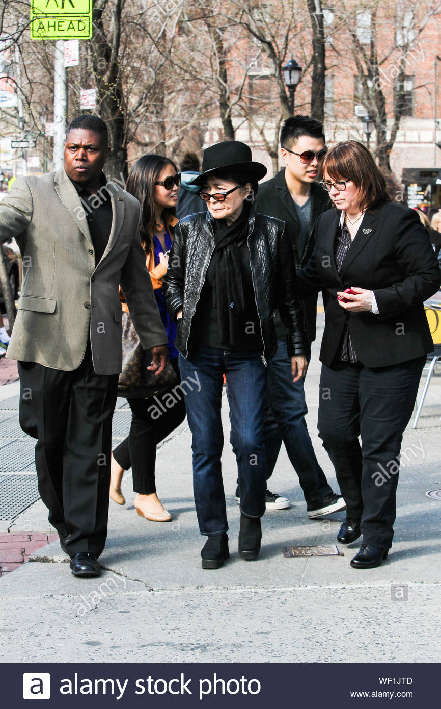 New York Ny John Lennon S Widow Yoko Ono And Their Son Sean Lennon Have Lunch Together At Da Silvano Restaurant In New York City Akm Gsi April 5 2014 Stock Photo Alamy