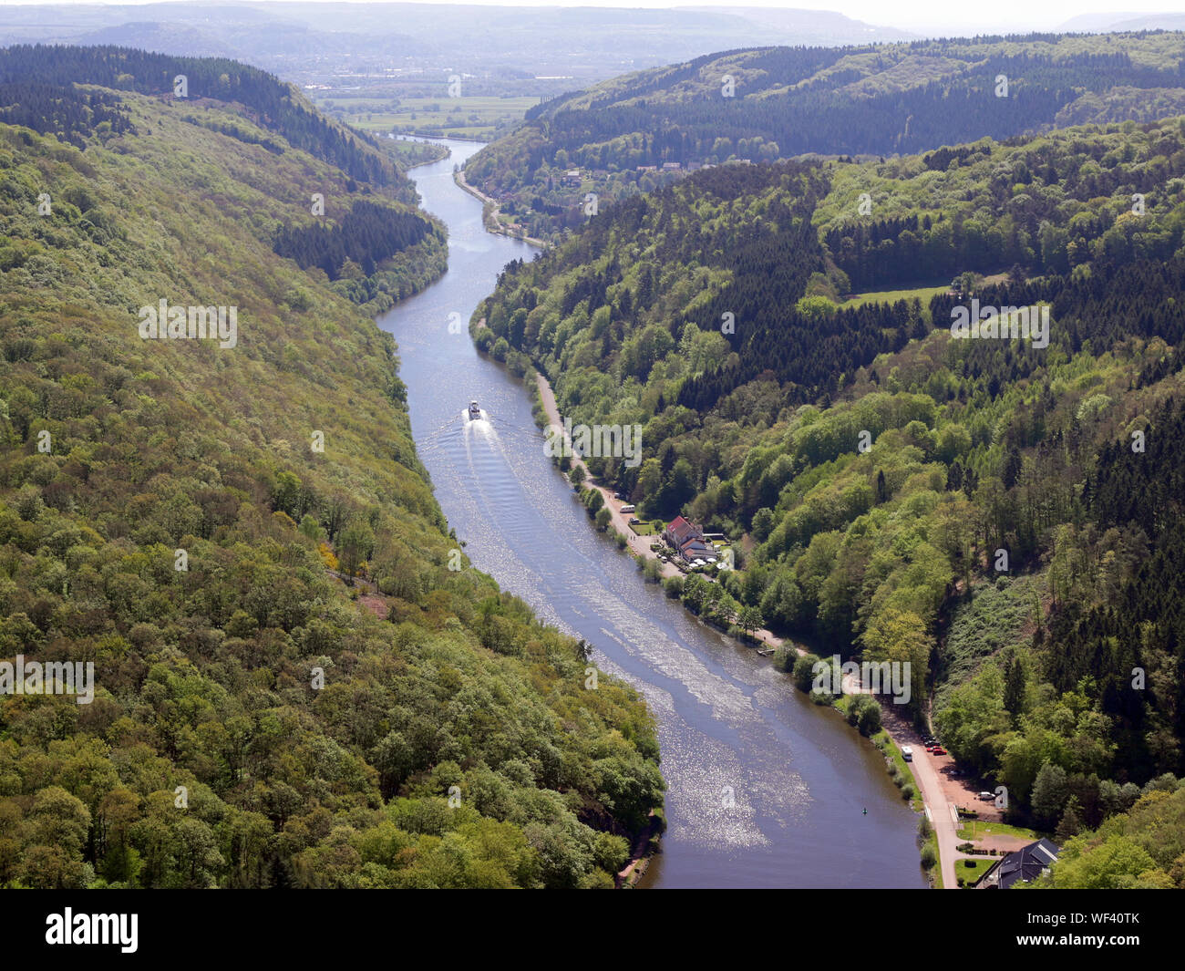 High Angle View Of River Amidst Mountains Against Sky Stock Photo