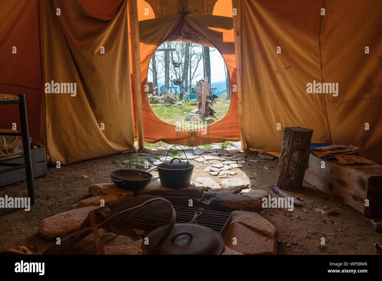 Interior View Of Tent Stock Photo