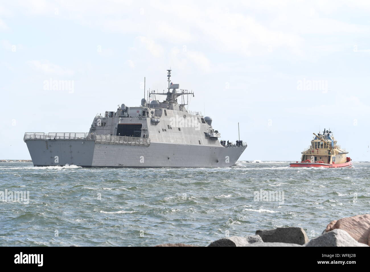 190830-N-DA434-078  JACKSONVILLE, Fla. (Aug. 30, 2019) The Freedom-class variant littoral combat ship USS Billings (LCS 15) departs from Naval Station Mayport as Commander, U.S. 4th Fleet orders all U.S. Navy ships homeported in the area to sortie ahead of Hurricane Dorian, which is forecasted to bring high winds and heavy rain to the East Coast. Ships are being directed to areas in the Atlantic where they are best postured for storm avoidance. (U.S. Navy photo by Mass Communication Specialist 3rd Class Alana Langdon/Released) Stock Photo
