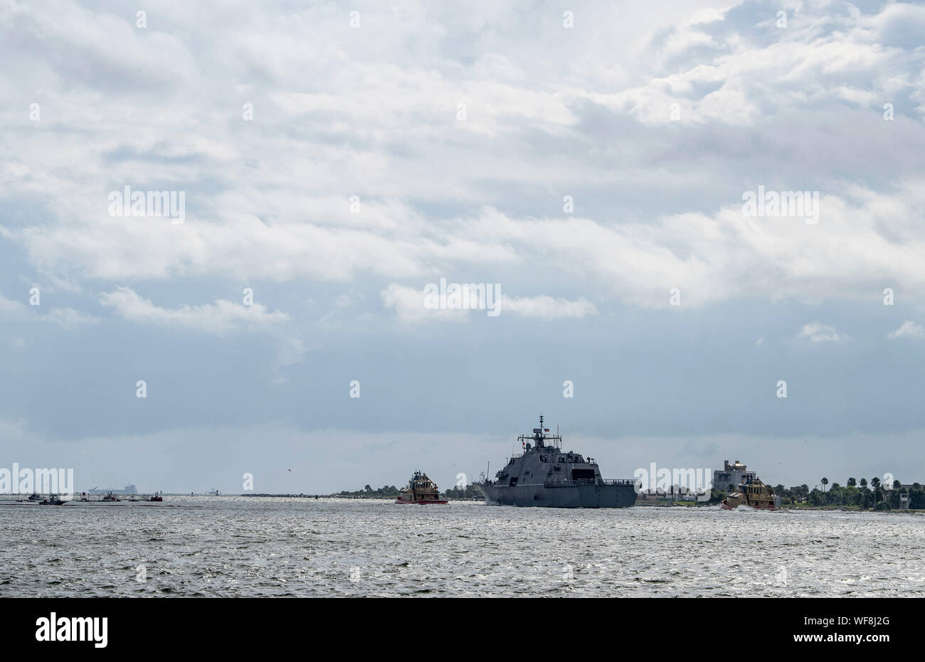 190830-N-QI061-2243  JACKSONVILLE, Fla. (Aug. 30, 2019) The Freedom-class variant littoral combat ship USS Billings (LCS 15) gets underway from Naval Station Mayport as Commander, U.S. 4th Fleet orders all U.S. Navy ships homeported in the area to sortie ahead of Hurricane Dorian, which is forecasted to bring high winds and heavy rain to the East Coast. Ships are being directed to areas in the Atlantic where they are best postured for storm avoidance. (U.S. Navy photo by Mass Communication Specialist 3rd Class Nathan T. Beard/Released) Stock Photo