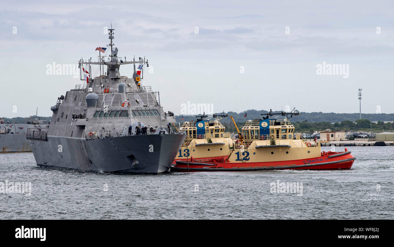 190830-N-QI061-2060  JACKSONVILLE, Fla. (Aug., 30, 2019) The Freedom-class variant littoral combat ship USS Billings (LCS 15) gets underway from Naval Station Mayport. Commander, U.S. 4th Fleet ordered all U.S. Navy ships homeported at Naval Station Mayport to sortie ahead of Hurricane Dorian. Ships got underway from Naval Station Mayport as Hurricane Dorian is forecasted to bring high winds and heavy rain to the East Coast. Ships were directed to areas in the Atlantic where they are best postured for storm avoidance. (U.S. Navy photo by Mass Communication Specialist 3rd Class Nathan T. Beard/ Stock Photo