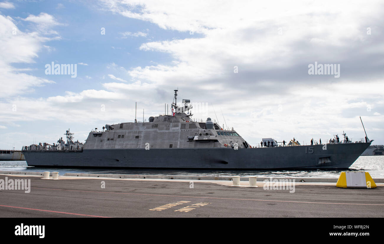 190830-N-QI061-2139  JACKSONVILLE, Fla. (Aug. 30, 2019) The Freedom-class variant littoral combat ship USS Billings (LCS 15) gets underway from Naval Station Mayport as Commander, U.S. 4th Fleet orders all U.S. Navy ships homeported in the area to sortie ahead of Hurricane Dorian, which is forecasted to bring high winds and heavy rain to the East Coast. Ships are being directed to areas in the Atlantic where they are best postured for storm avoidance. (U.S. Navy photo by Mass Communication Specialist 3rd Class Nathan T. Beard/Released) Stock Photo