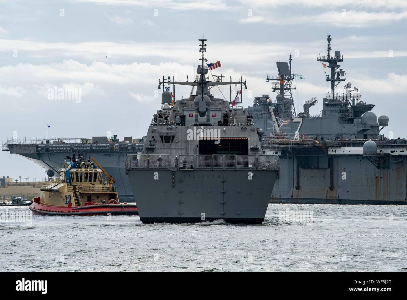 190830-N-QI061-2166  JACKSONVILLE, Fla. (Aug. 30, 2019) The Freedom-class variant littoral combat ship USS Billings (LCS 15) gets underway from Naval Station Mayport as Commander, U.S. 4th Fleet orders all U.S. Navy ships homeported in the area to sortie ahead of Hurricane Dorian, which is forecasted to bring high winds and heavy rain to the East Coast. Ships are being directed to areas in the Atlantic where they are best postured for storm avoidance. (U.S. Navy photo by Mass Communication Specialist 3rd Class Nathan T. Beard/Released) Stock Photo