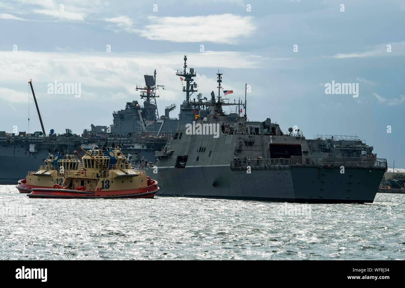 190830-N-QI061-2189  JACKSONVILLE, Fla. (Aug. 30, 2019) The Freedom-class variant littoral combat ship USS Billings (LCS 15) gets underway from Naval Station Mayport as Commander, U.S. 4th Fleet orders all U.S. Navy ships homeported in the area to sortie ahead of Hurricane Dorian, which is forecasted to bring high winds and heavy rain to the East Coast. Ships are being directed to areas in the Atlantic where they are best postured for storm avoidance. (U.S. Navy photo by Mass Communication Specialist 3rd Class Nathan T. Beard/Released) Stock Photo