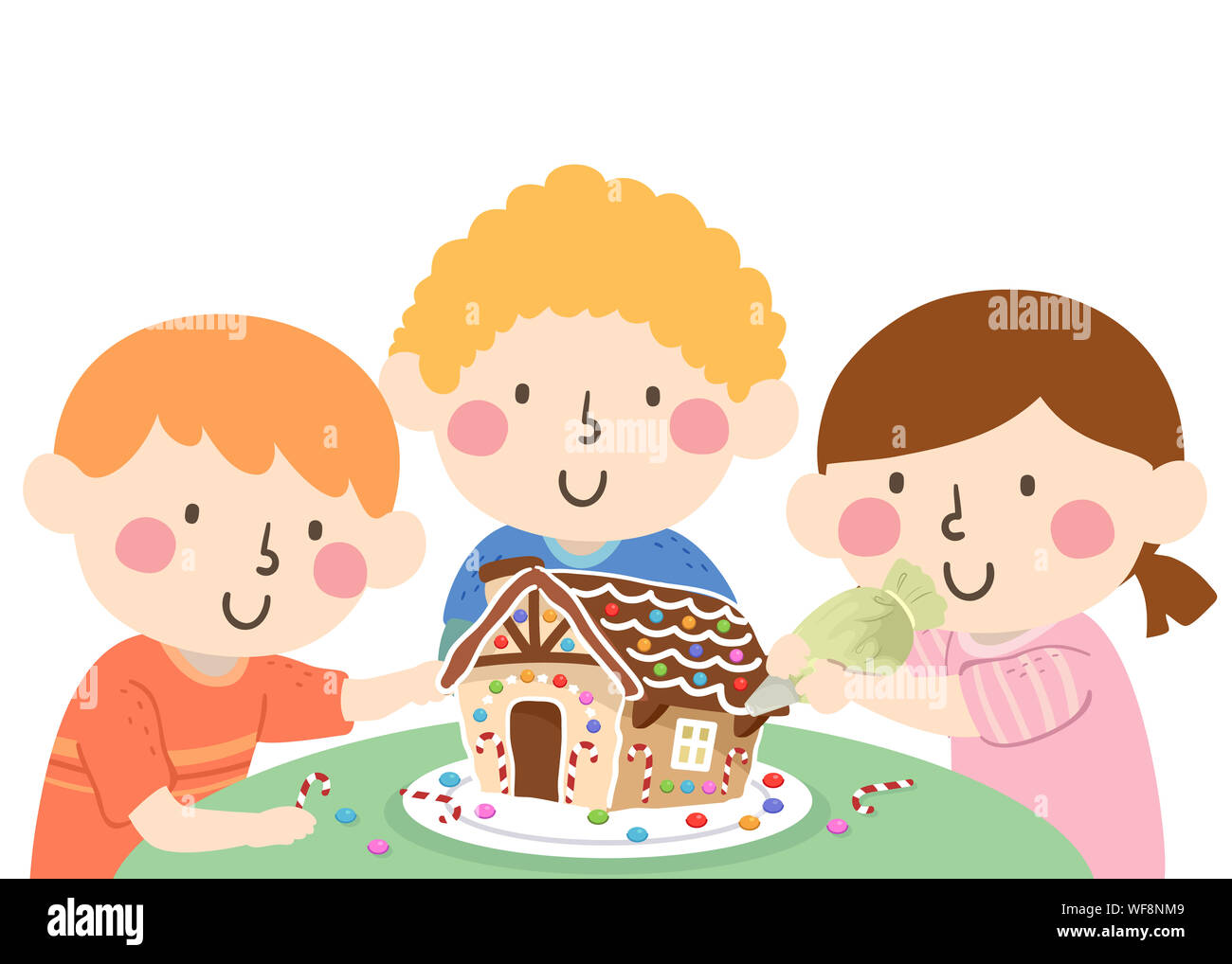 Illustration Of Kids Decorating A Gingerbread House On The