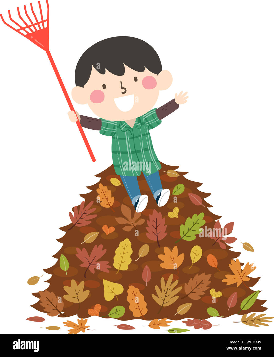 Illustration Of A Kid Boy Sitting On Top Of A Pile Of Autumn Leaves While Holding A Rake Stock Photo Alamy