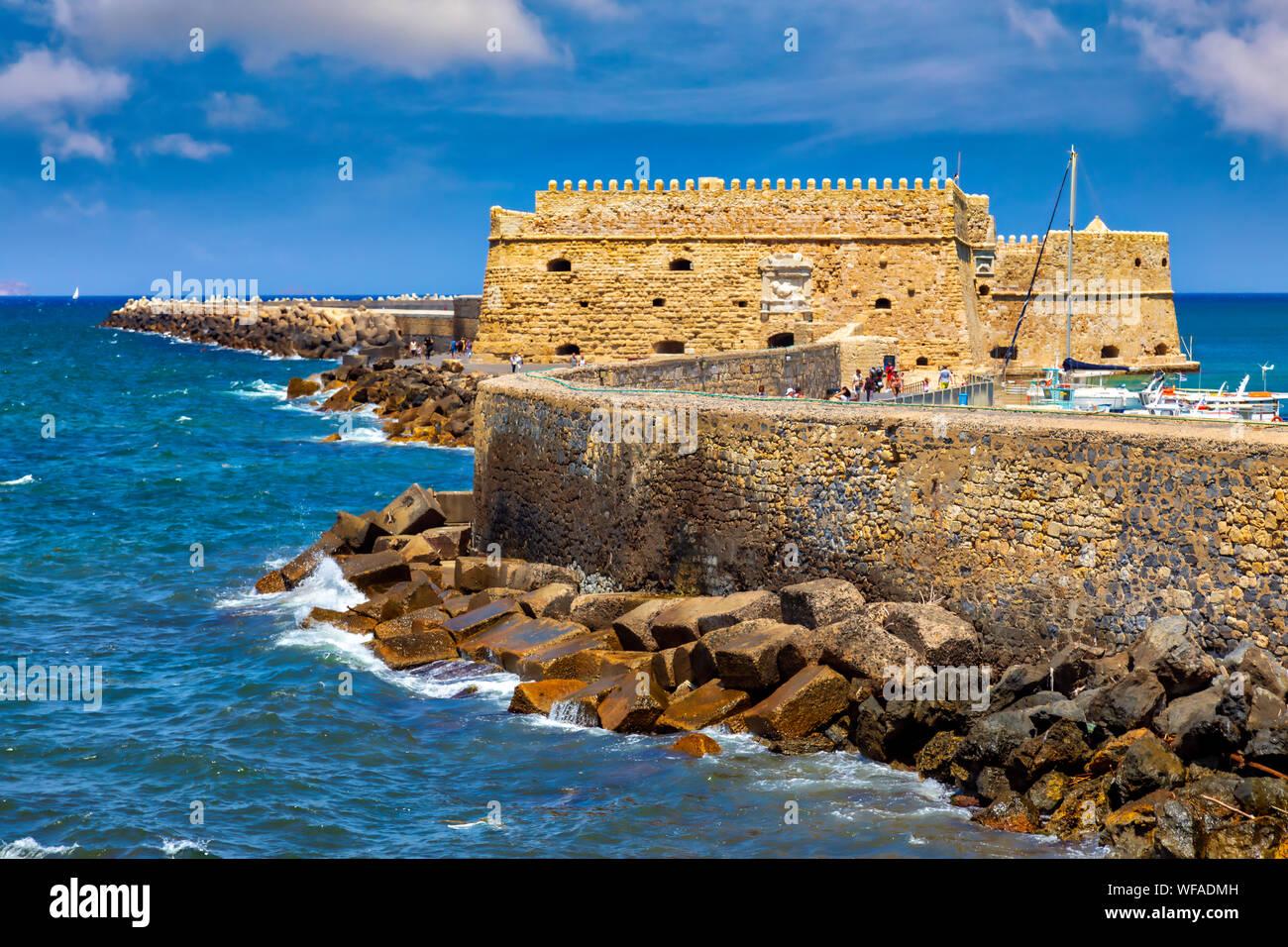 The Venetian Harbor Fortress Of Heraklion City Crete Island
