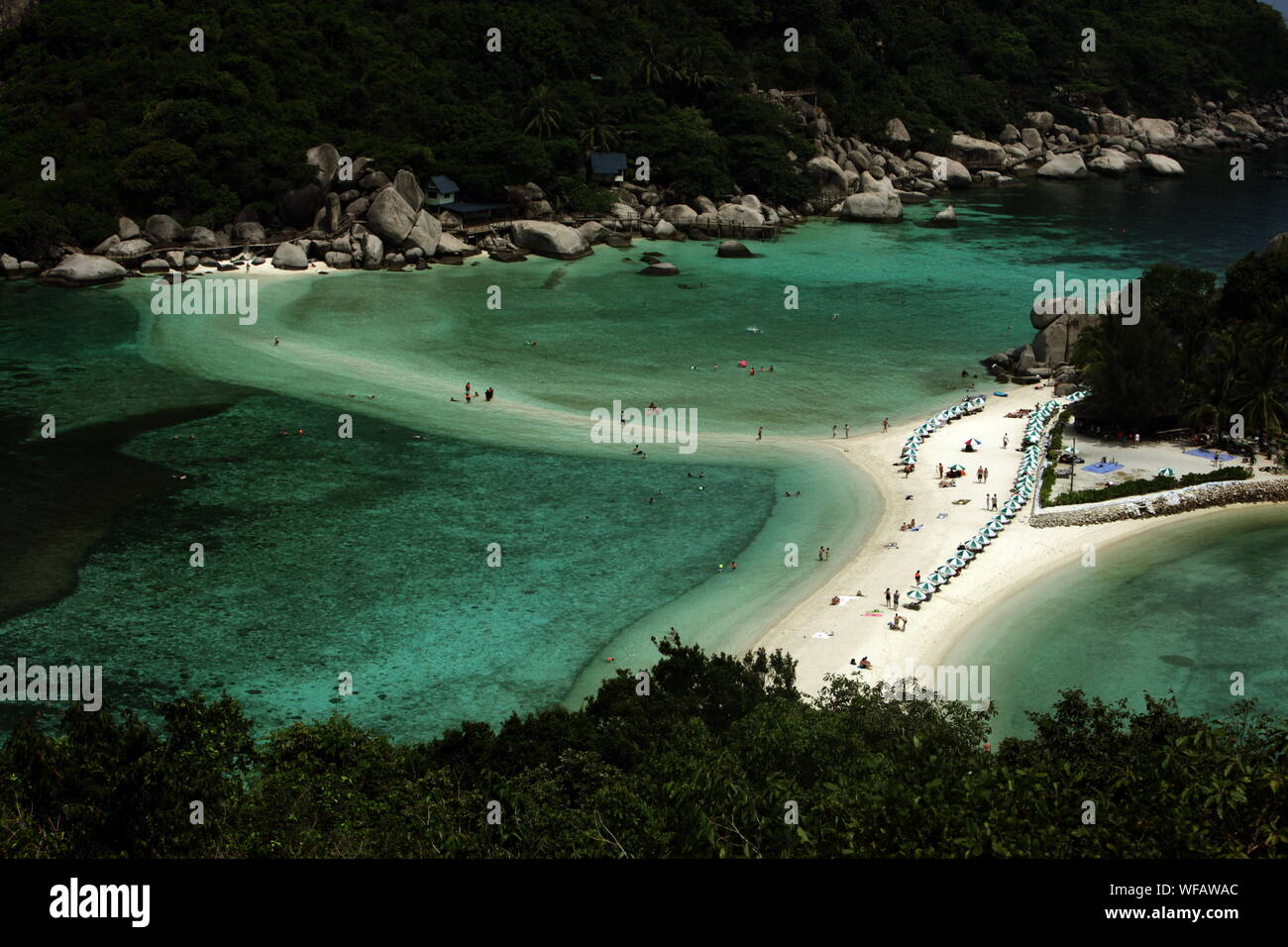 High Angle View Of People Ate Beach Stock Photo