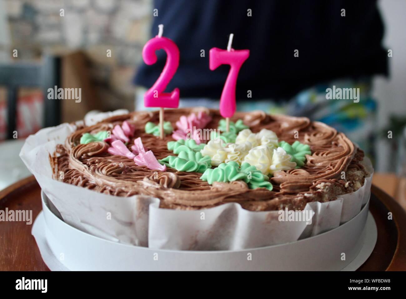 Stupendous Close Up Of Number 27 Candles On Birthday Cake Stock Photo Personalised Birthday Cards Akebfashionlily Jamesorg