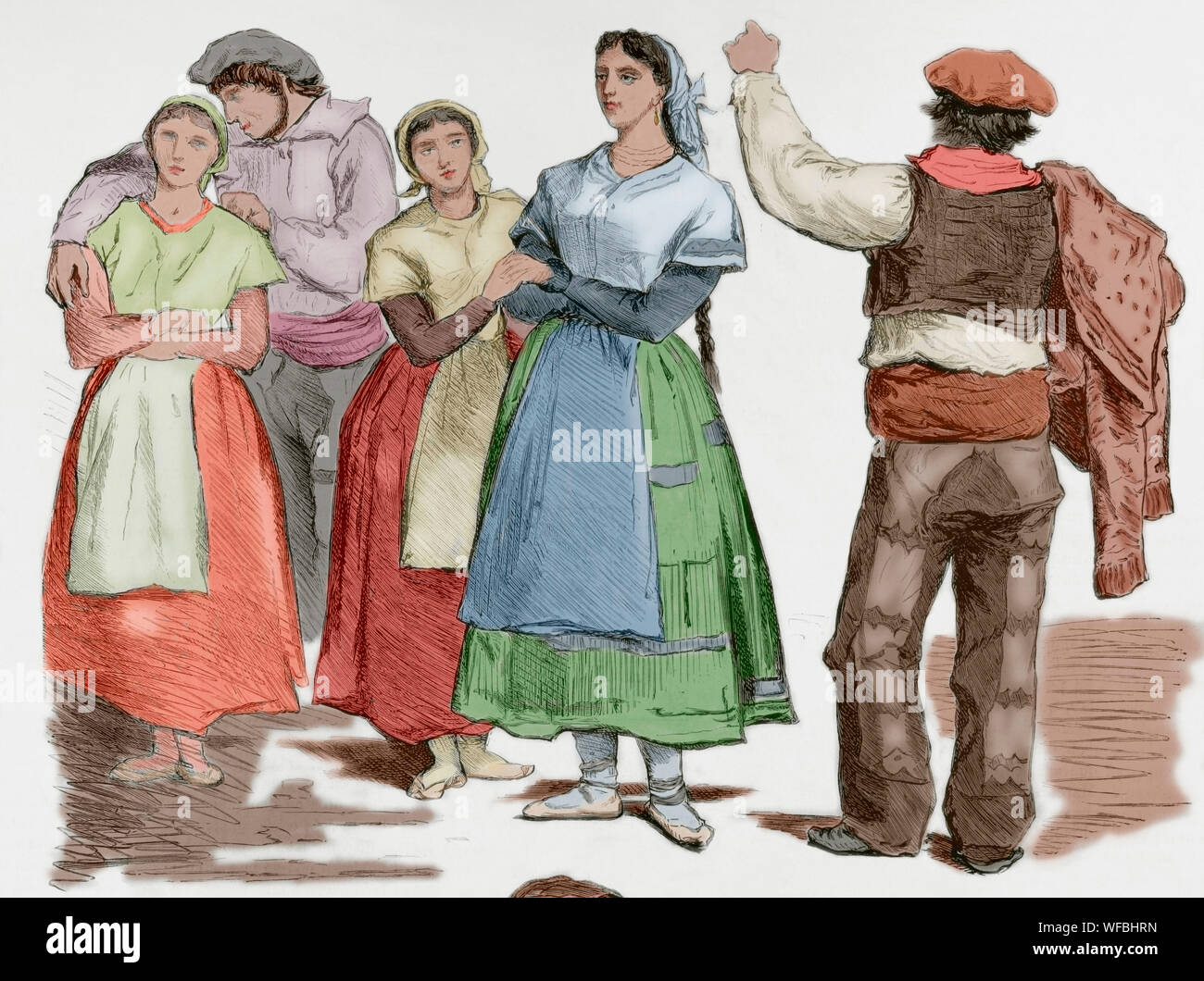 Spain. Types of Basque provinces. Women and men with traditional dresses. Unpublished sketches of Valeriano Becquer. Engraving. La Ilustracion Española y Americana, January 15, 1876. Later colouration. Stock Photo