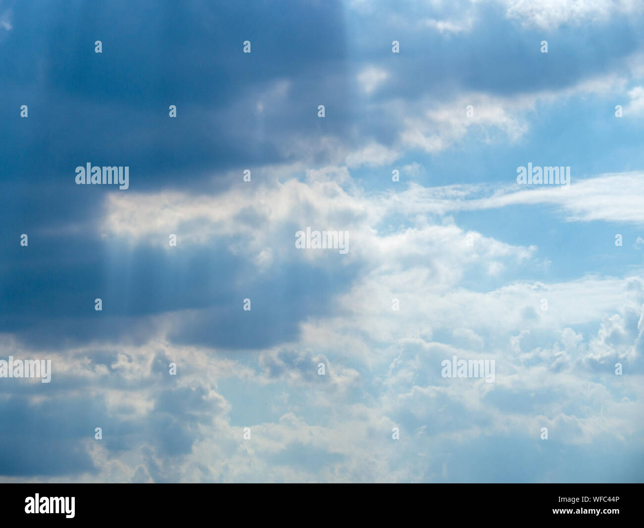 The sky at sunset, Sunny background, blue sky with white clouds, Natural landscape Stock Photo