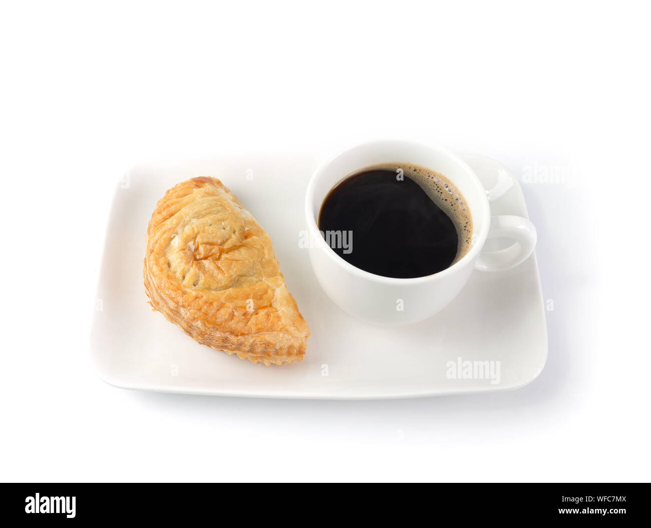 Puff pastry  and Coffee Cup on white Background isolate. Continental Breakfast. Coffee Break, Black coffee with pie Stock Photo