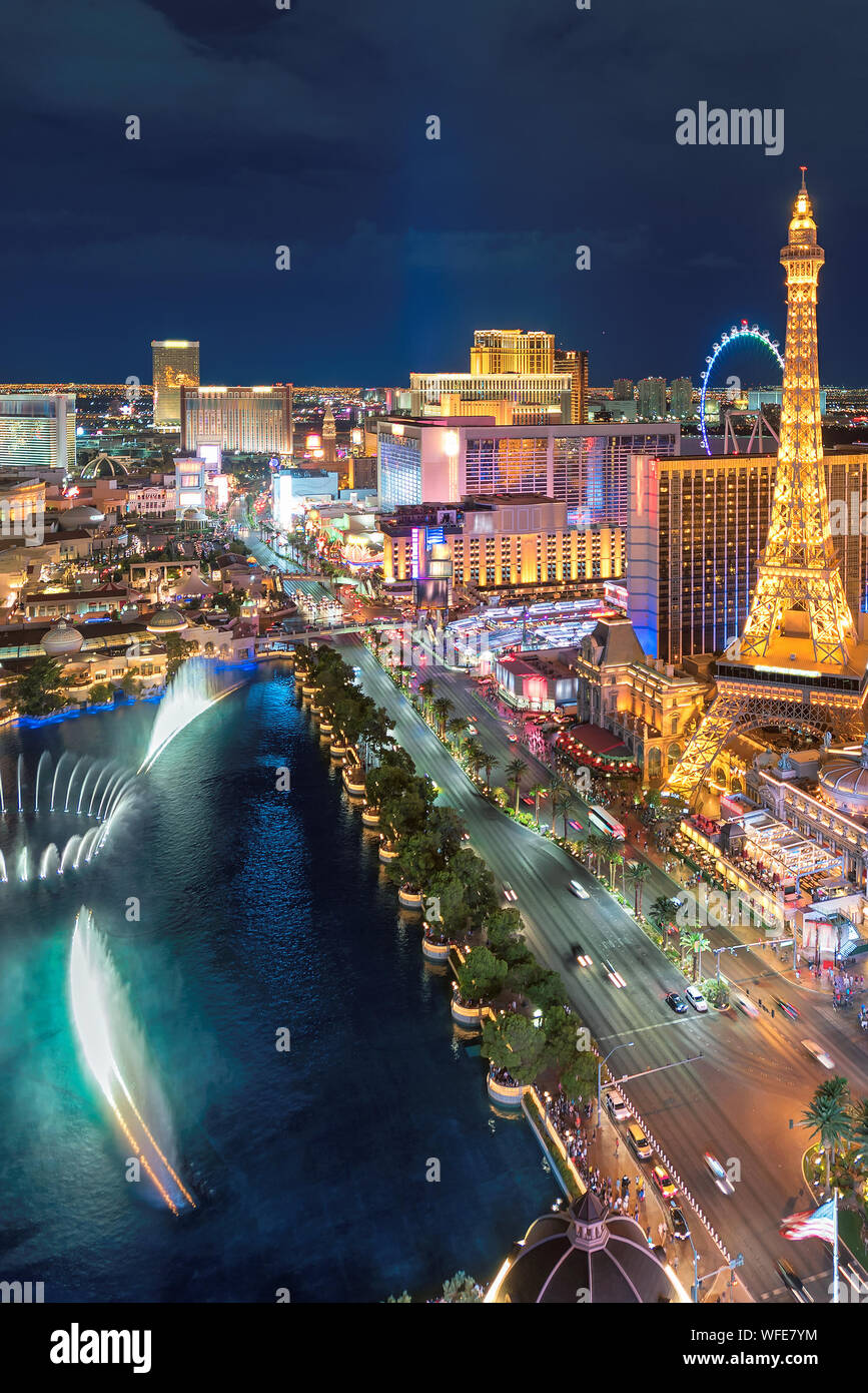 Aerial view of Las Vegas strip in Nevada as seen at night, Stock Photo