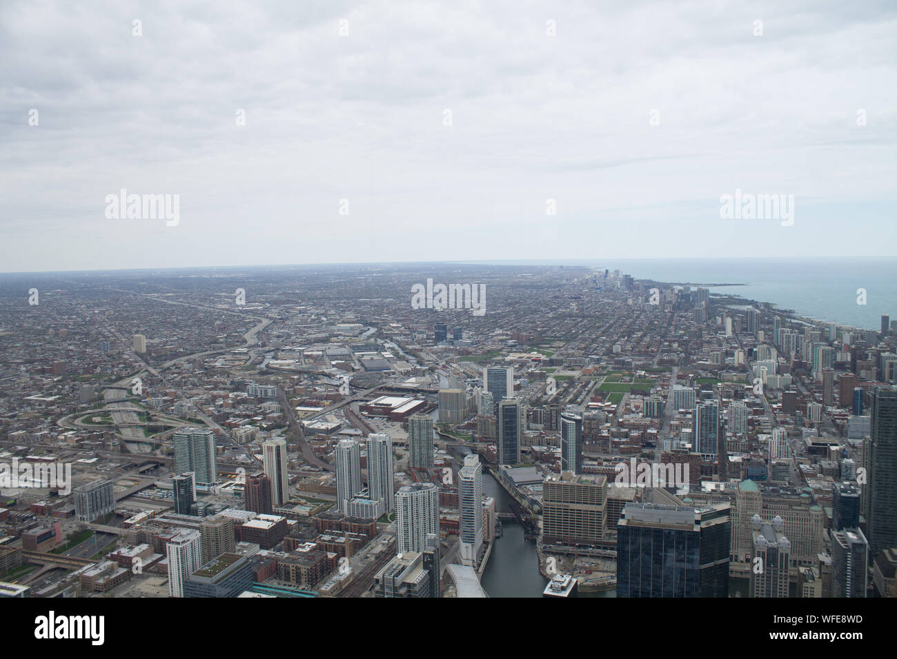 Aerial View Of Seaside Megalopolis Stock Photo