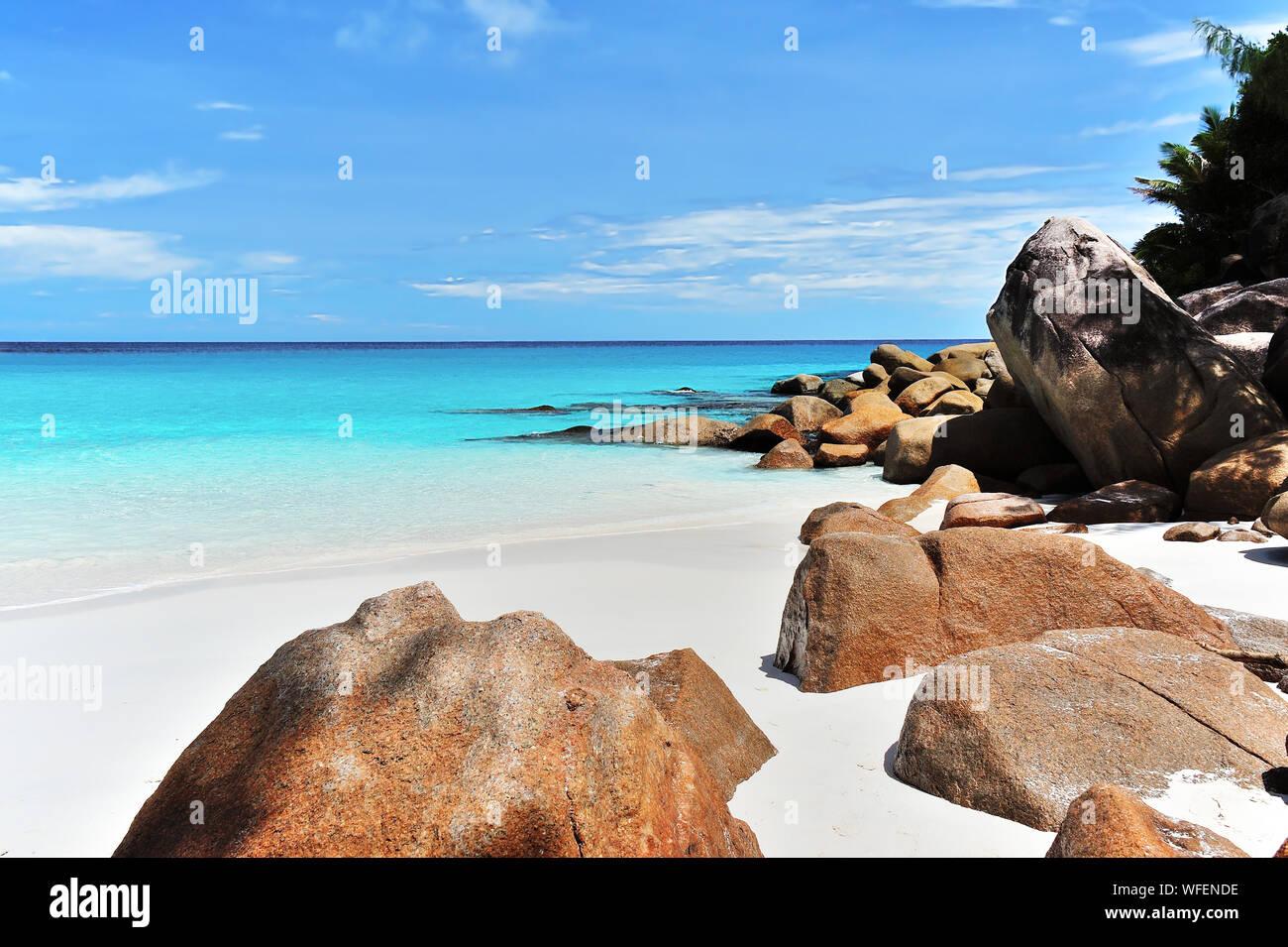Anse Georgette, Beach on Island Praslin, Seychelles Stock Photo