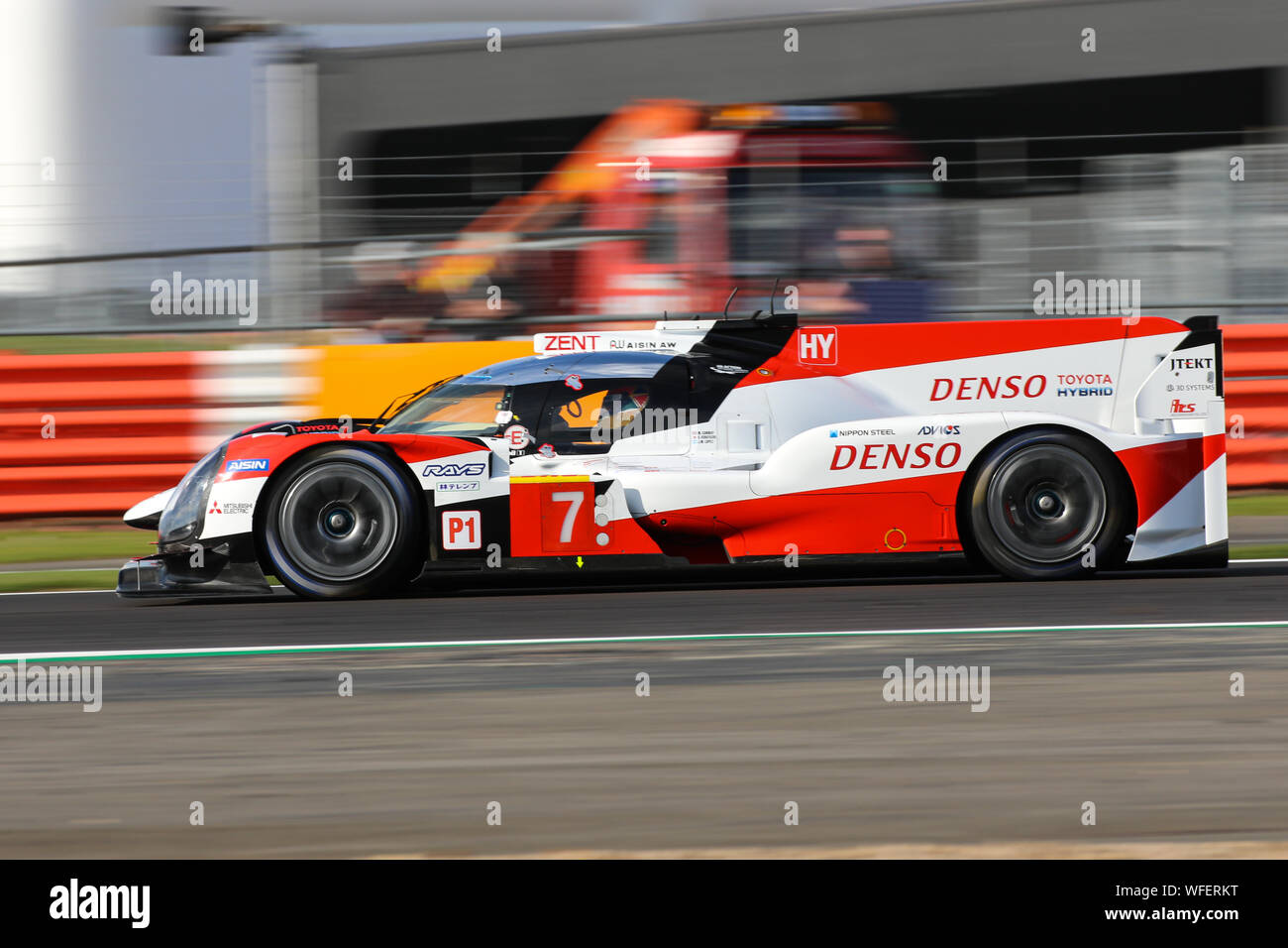 The #7 Toyota Gazoo Racing Toyota TS050 Hybrid of Mike Conway, Kamui Kobayashi and Jose-Maria Lopez during practice for the FIA World Endurance Champi Stock Photo