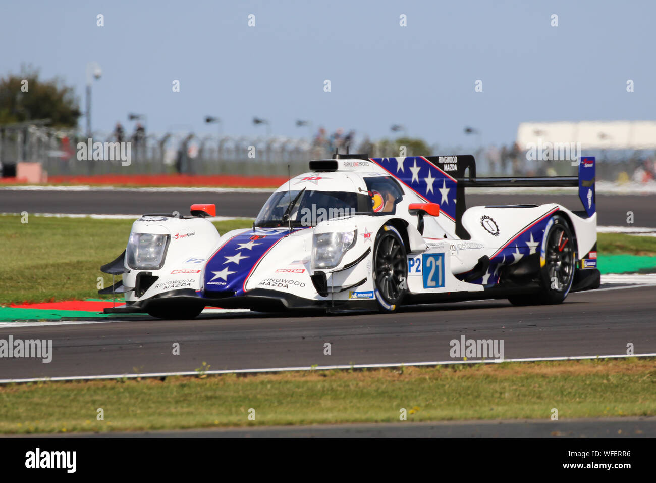 The #21 Dragonspeed Oreca 07-Gibson of Henrik Hedman, Ben Hanley and James Allen during qualifying for the European Le Mans Series at Silverstone Stock Photo