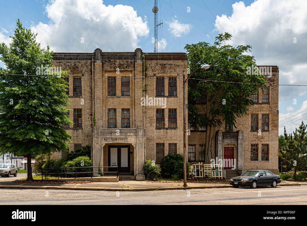 The historic Anderson county courthouse in Palestine, Texas.  It was built in 1914 and is on the National Register of Historic Places Stock Photo