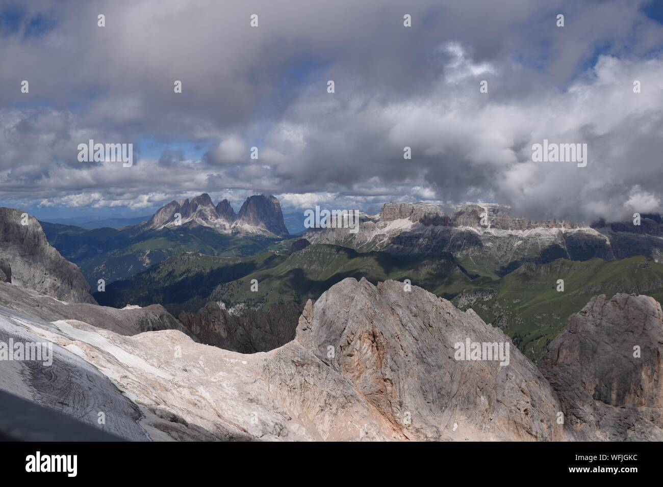 Dolomites Mountains Seen From Mt Marmolada During Winter Stock Photo