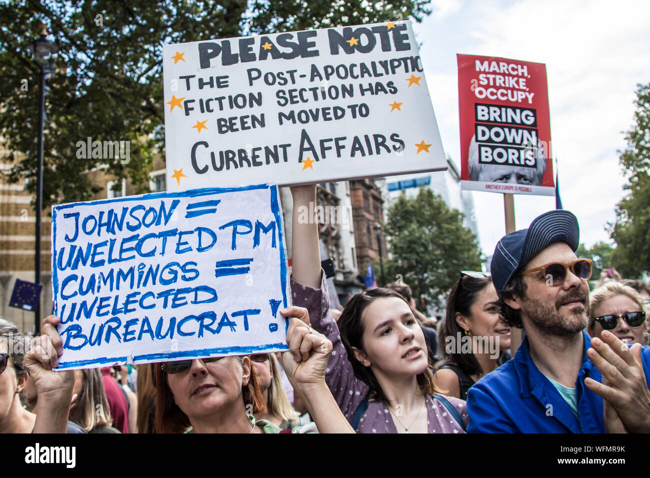 London,UK. 31 August 2019. Thousands marched and blocked central London roads in  a protest to defend democracy and against the prorogation of Parliament. David Rowe/Alamy Live News. Stock Photo