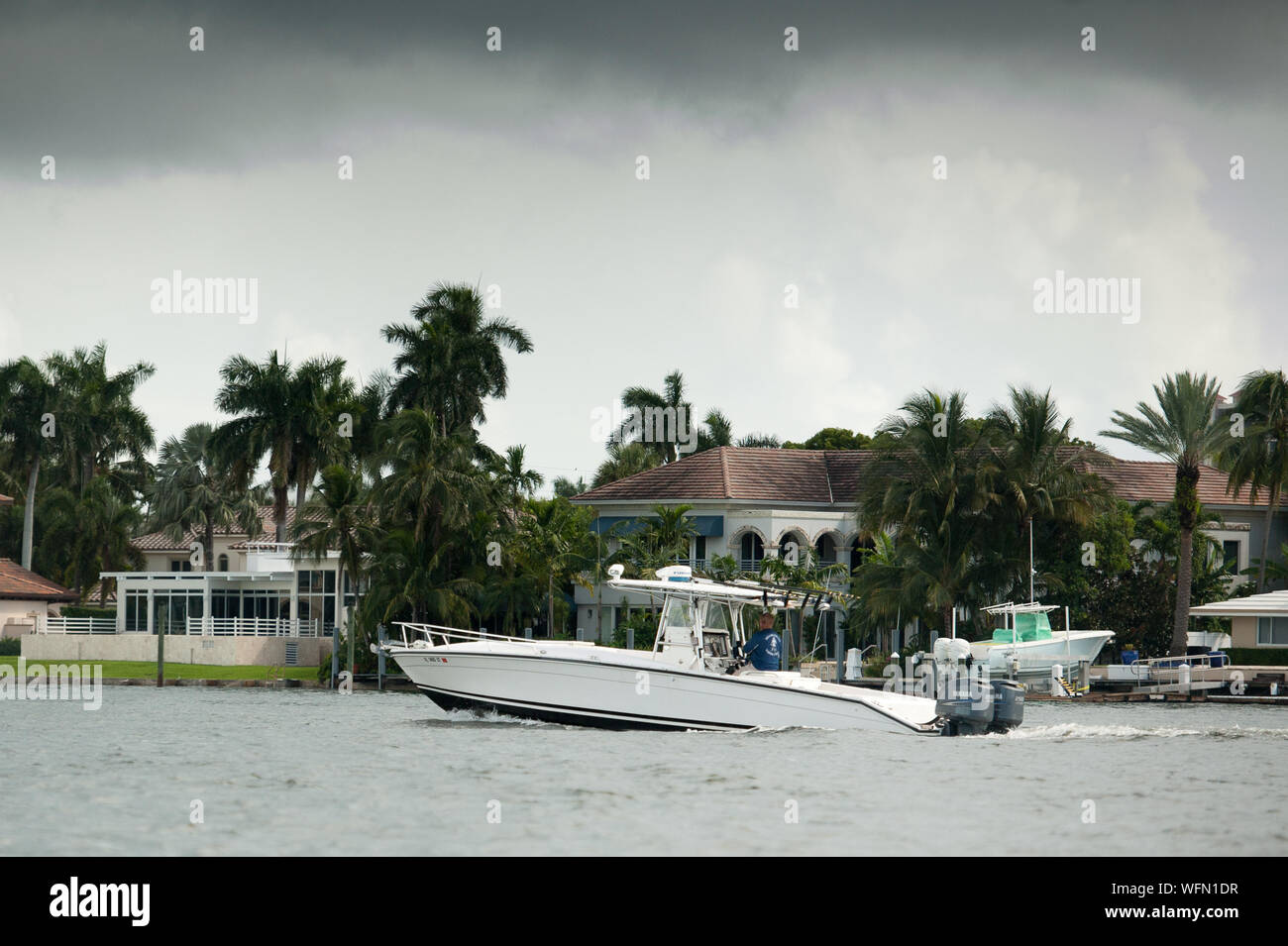 Fort Lauderdale, Florida, USA. 31st Aug, 2019. Boat owners move boats out of Fort Lauderdale Marina in enticipation of Hurricane Dorian. Credit: Orit Ben-Ezzer/ZUMA Wire/Alamy Live News Stock Photo