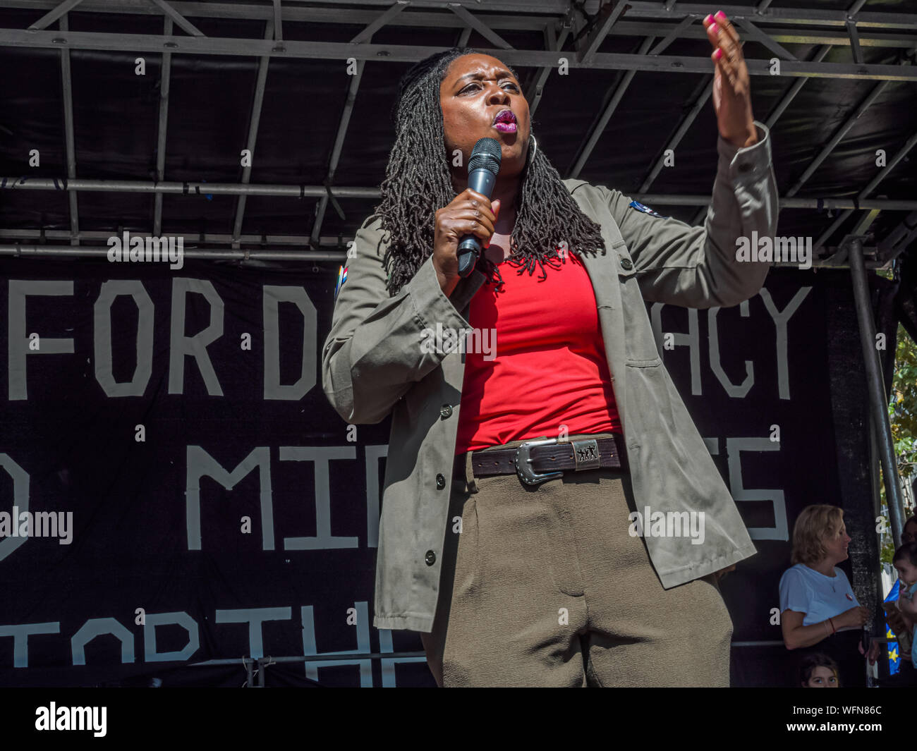 London, UK. 31st August 2019. Shadow Women & Equalities Secretary Dawn Butler speaks to thousands of leave and remain supporters enraged at Boris Johnson's attack on our democracy by shutting down Parliament to prevent discussion on leaving Europe without a deal at the Whitehall rally.  The rally was hosted by Another Europe Is Possible, Green Party, Momentum, YouthStrike4Climate, UK Student Climate Network, Stop Trump, Owen Jones and Labour for a Socialist Europe, and speakers at the rally included John McDonnell, Diane Abbott, Sian Berry, Owen Jones, trade unionists and grass roots activists Stock Photo