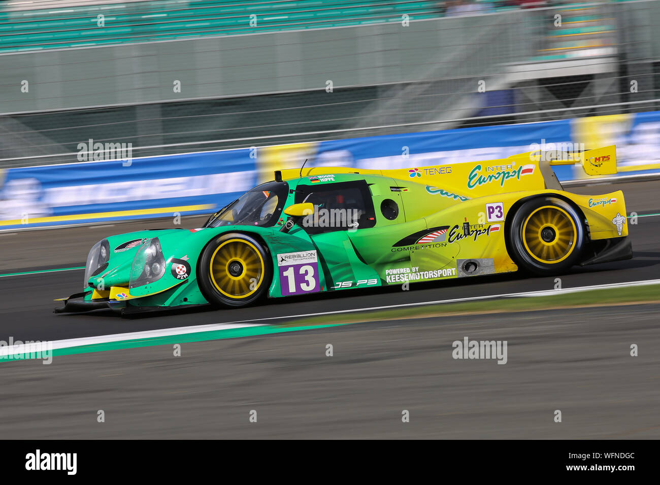 The #13 Inter Europol Competition Ligier JS P3-Nissan of Martin Hippe and Nigel Moore during the European Le Mans Series 4 Hours of Silverstone Stock Photo
