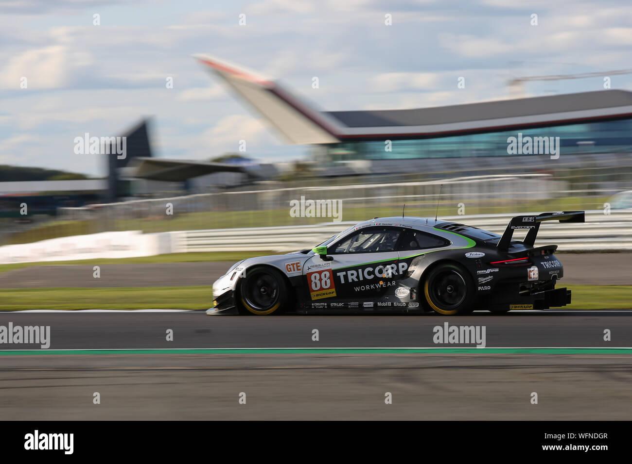 The #88 Dempsey-Proton Racing Proton Racing Porsche 911 RSR of Thomas Preining, Ricardo Sanchez and Gianluca Giraudi during the European Le Mans Serie Stock Photo