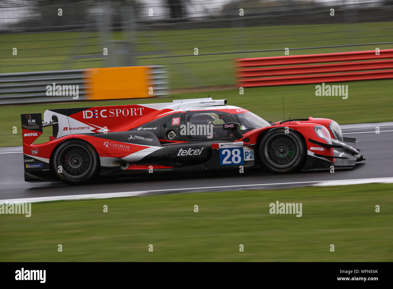 The #28 IDEC Sport Oreca 07-Gibson of Paul Lafargue, Paul Loup Chatin and Memo Rojas during the European Le Mans Series 4 Hours of Silverstone Stock Photo