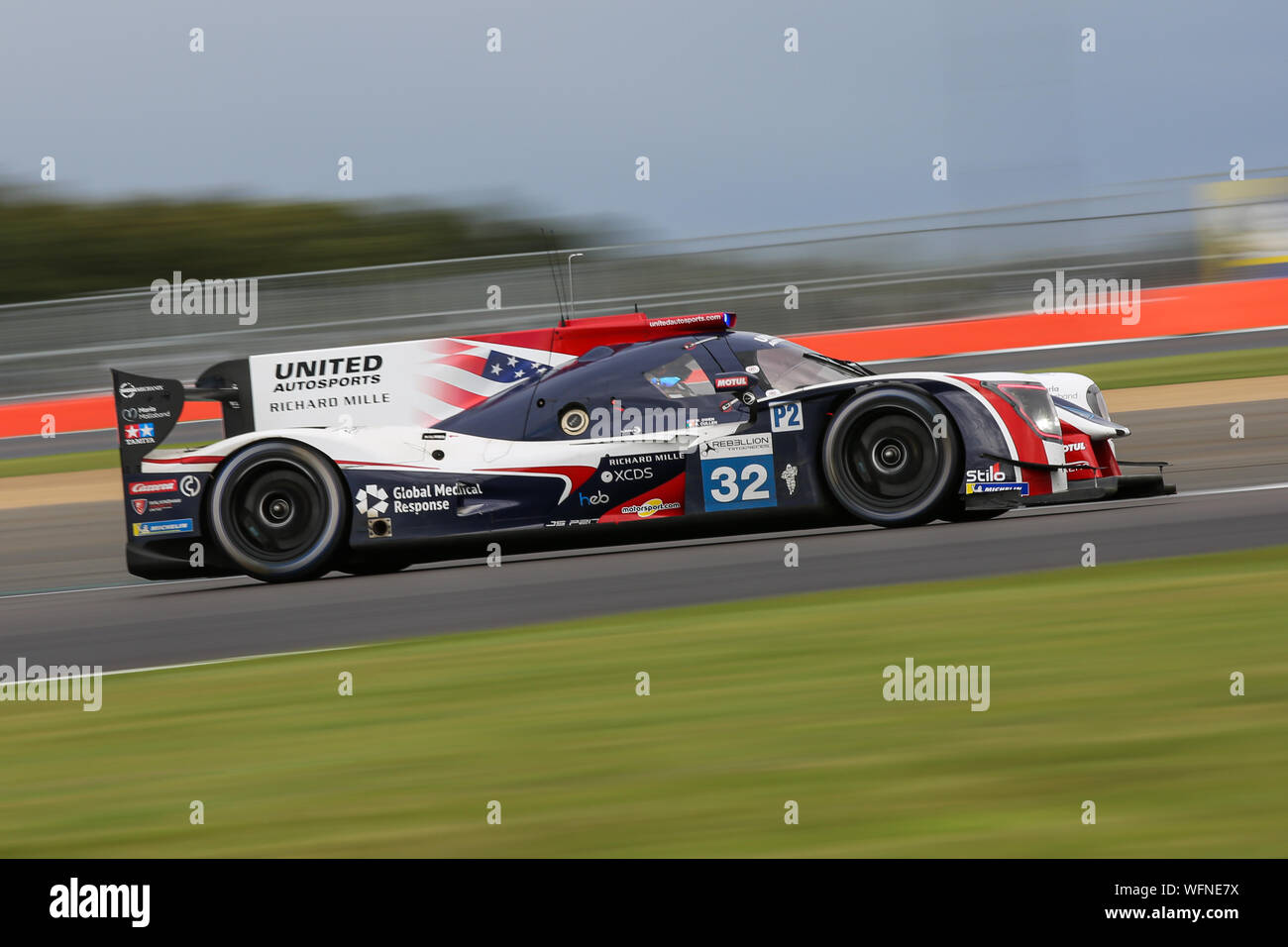 The #32 United Autosports Ligier JSP217-Gibson of Ryan Cullen, Alex Brundle and Will Owen during the European Le Mans Series 4 Hours of Silverstone Stock Photo