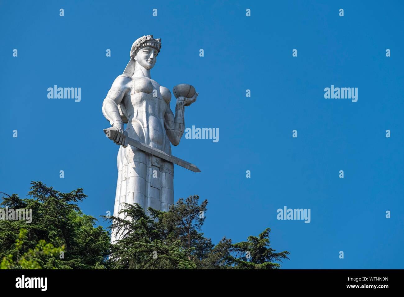 Georgia, Tbilisi, Kartlis Deda monument or Mother of Georgia on the top of the Sololaki hill is the symbol of Tbilisi Stock Photo