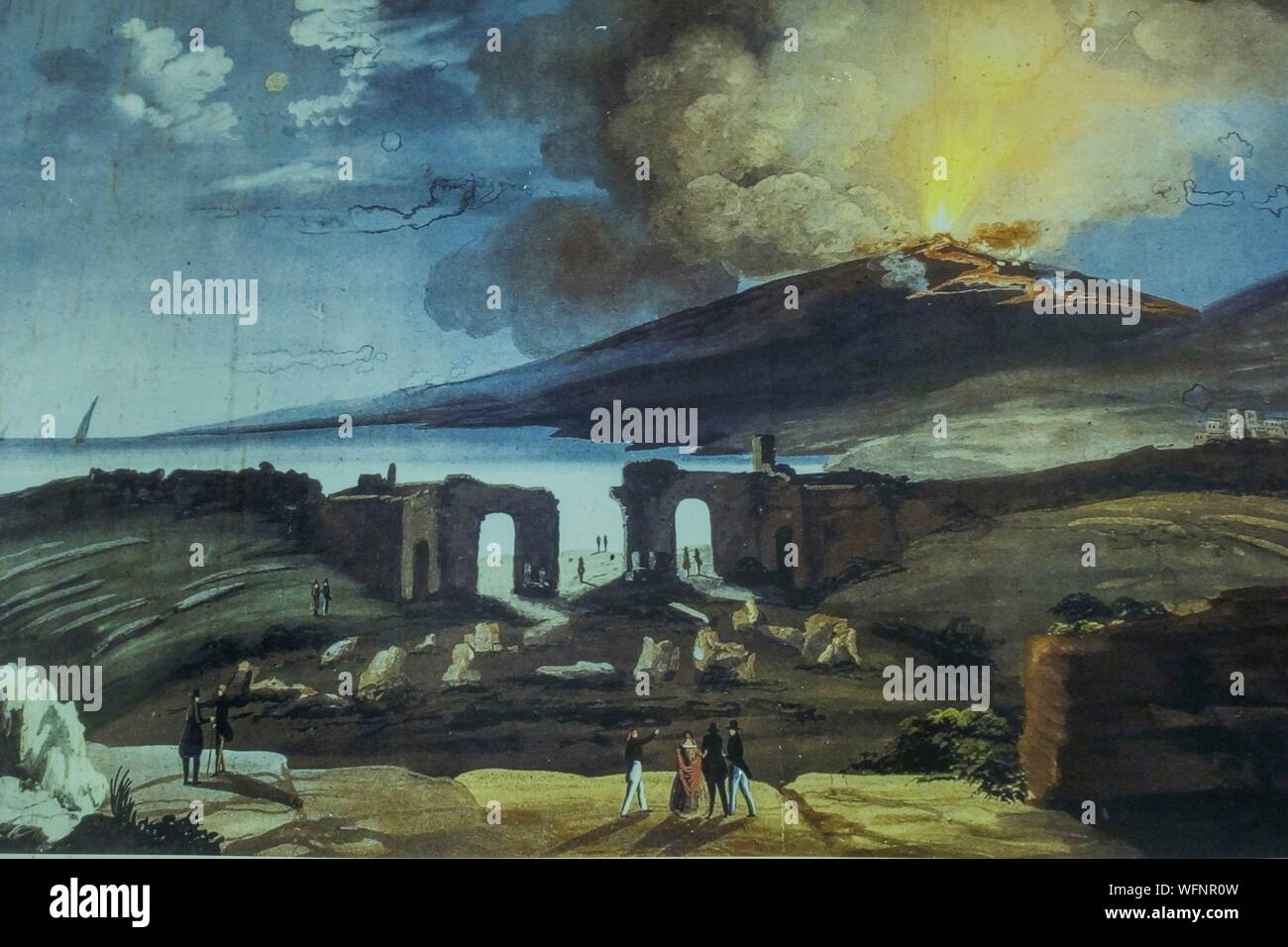 Italy, Sicily, Taormina, painting representing the greco roman theater, with erupting Etna in the back Stock Photo