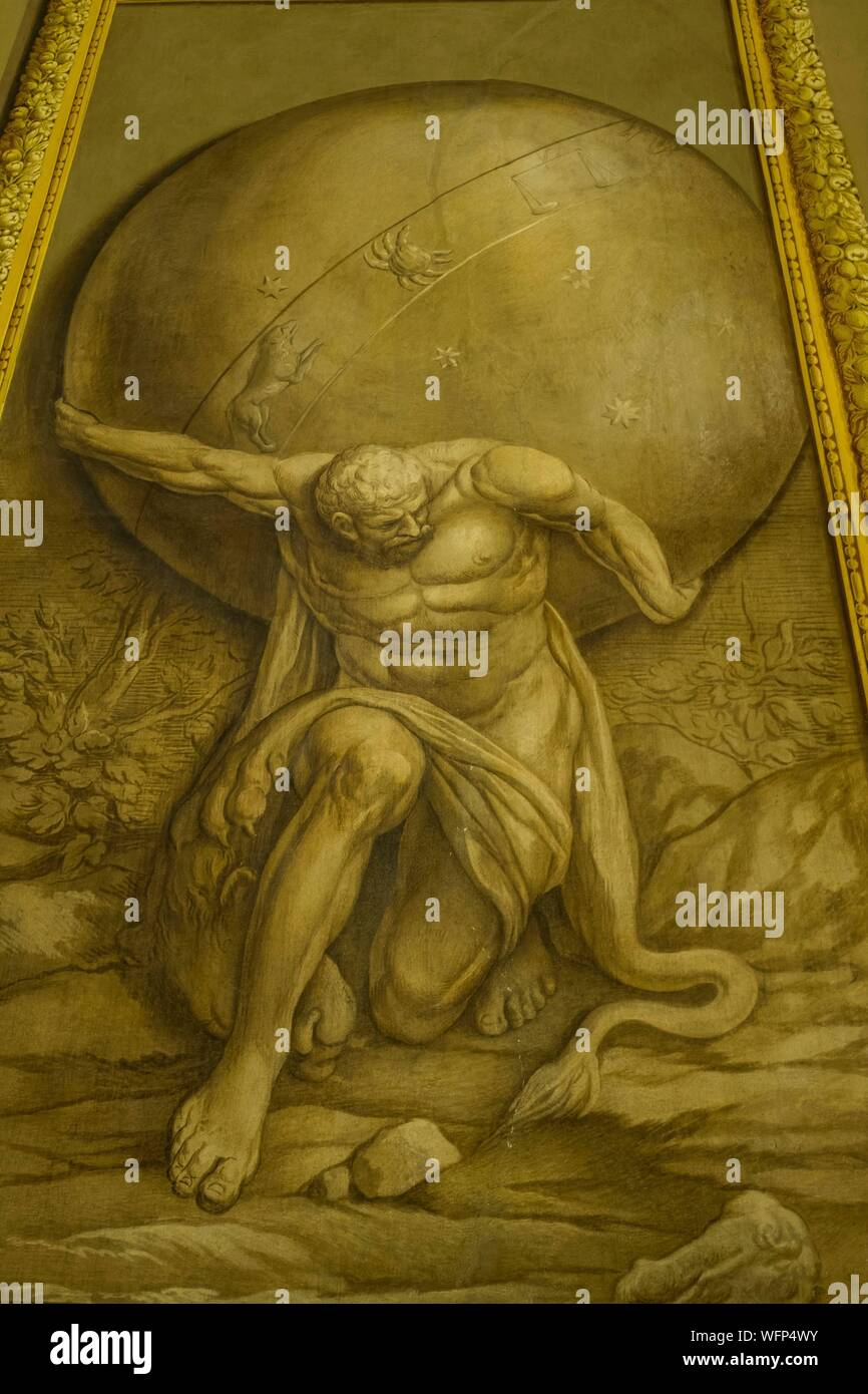 Italy, Sicily, Palermo, palace of the Norman kings, from 12th century, hall of the regional sicilian assembly, allegorical painting, the 12 labors of Hercules Stock Photo