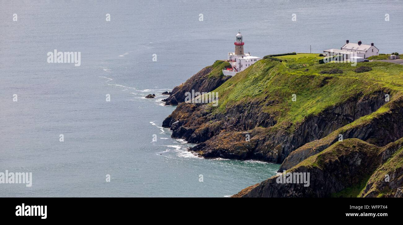 Ireland, Fingal County, Northern Dublin suburbs, Howth, cliff hiking trails, Baily Lighthouse Stock Photo
