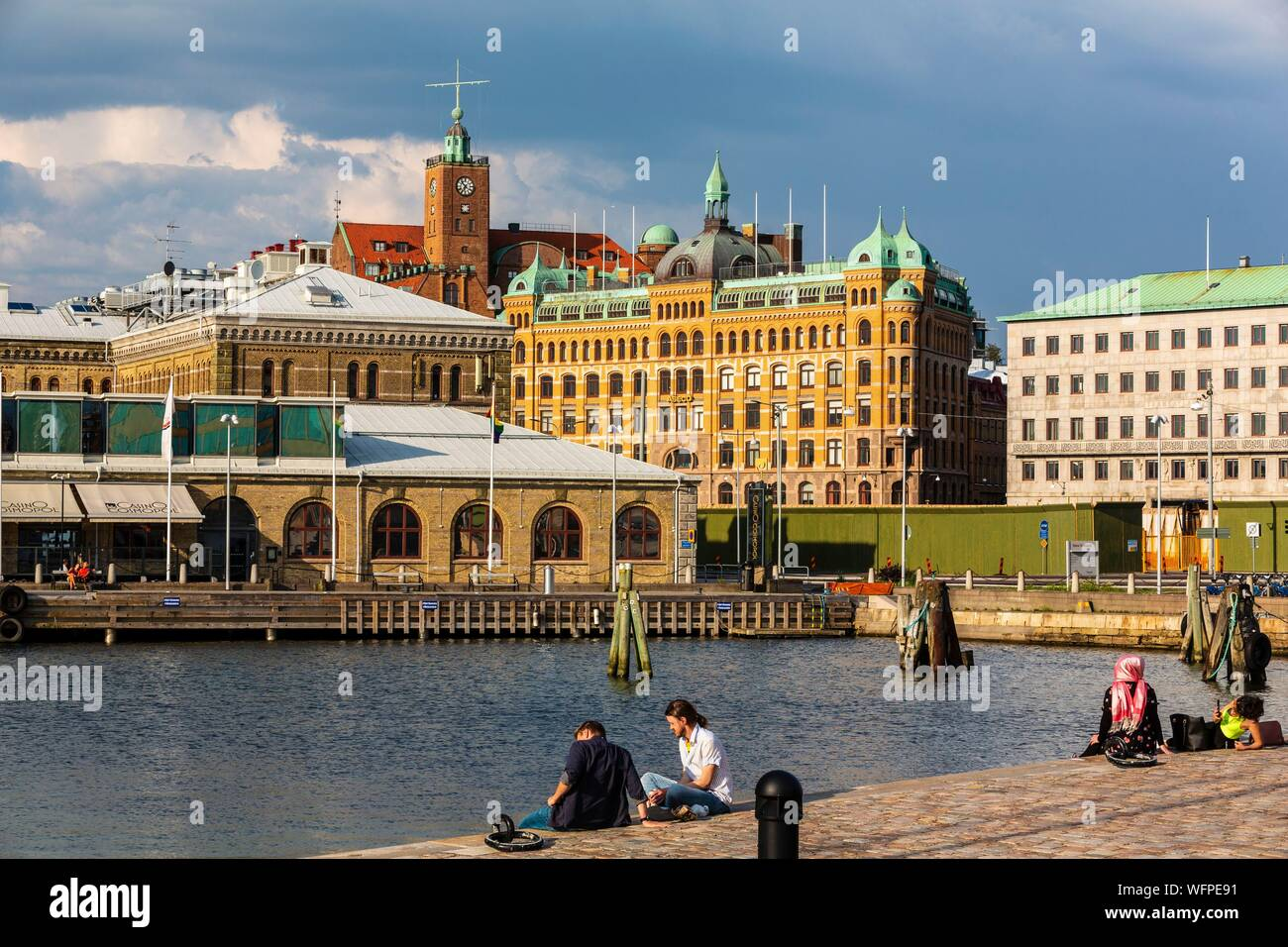 Sweden Vastra Gotaland Goteborg Gothenburg Buildings Of The Company Aseco On Packhusplatsen Facing The Harbor And Kvarnberget And His Clock Stock Photo Alamy