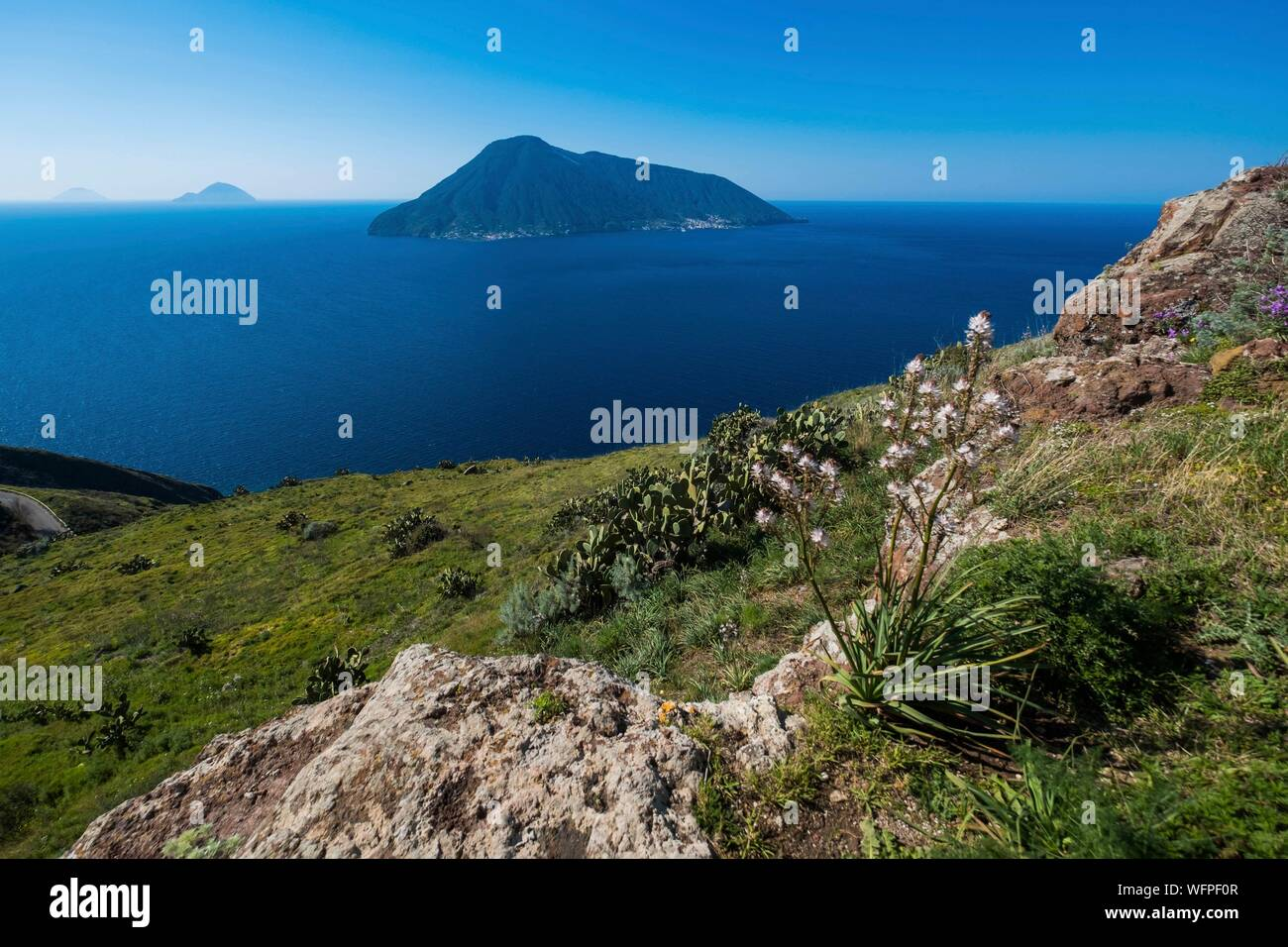 Italy, Sicily, Eolian Islands listed as World Heritage by UNESCO, Lipari, islands of Salina, Alicudi and Filicudi from chiesa vieja of Quattropani Stock Photo
