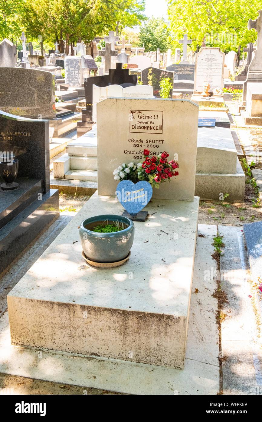 France, Paris, Montparnasse cemetery, tomb of Claude Sautet Stock Photo