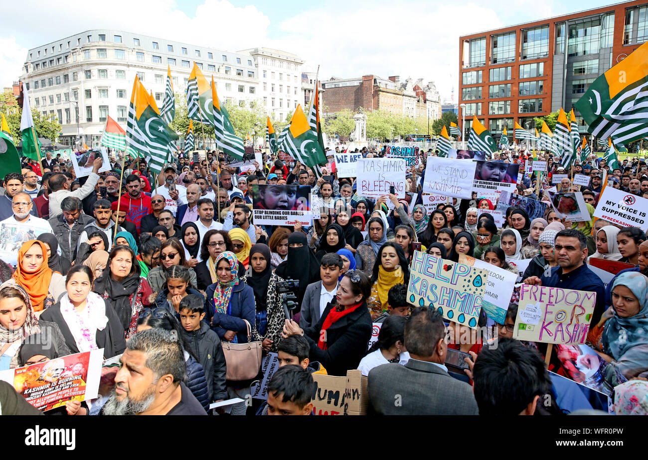 Manchester, UK. 31st August, 2019. Hundreds of Kashmir protesters gather in Piccadilly Gardens in Manchester calling for Kashmir freedom. Kashmir is a Himalayan territory which both India and Pakistan say is fully theirs. Each country controls part of the territory.Article 370 of the Indian constitution was removed from the country's only Muslim-majority state and since then hundreds of people have been detained.  With the internet in the country down families in the UK have not been able to find news of their families.  Piccadilly Gardens, Manchester, UK. Credit: Barbara Cook/Alamy Live News Stock Photo