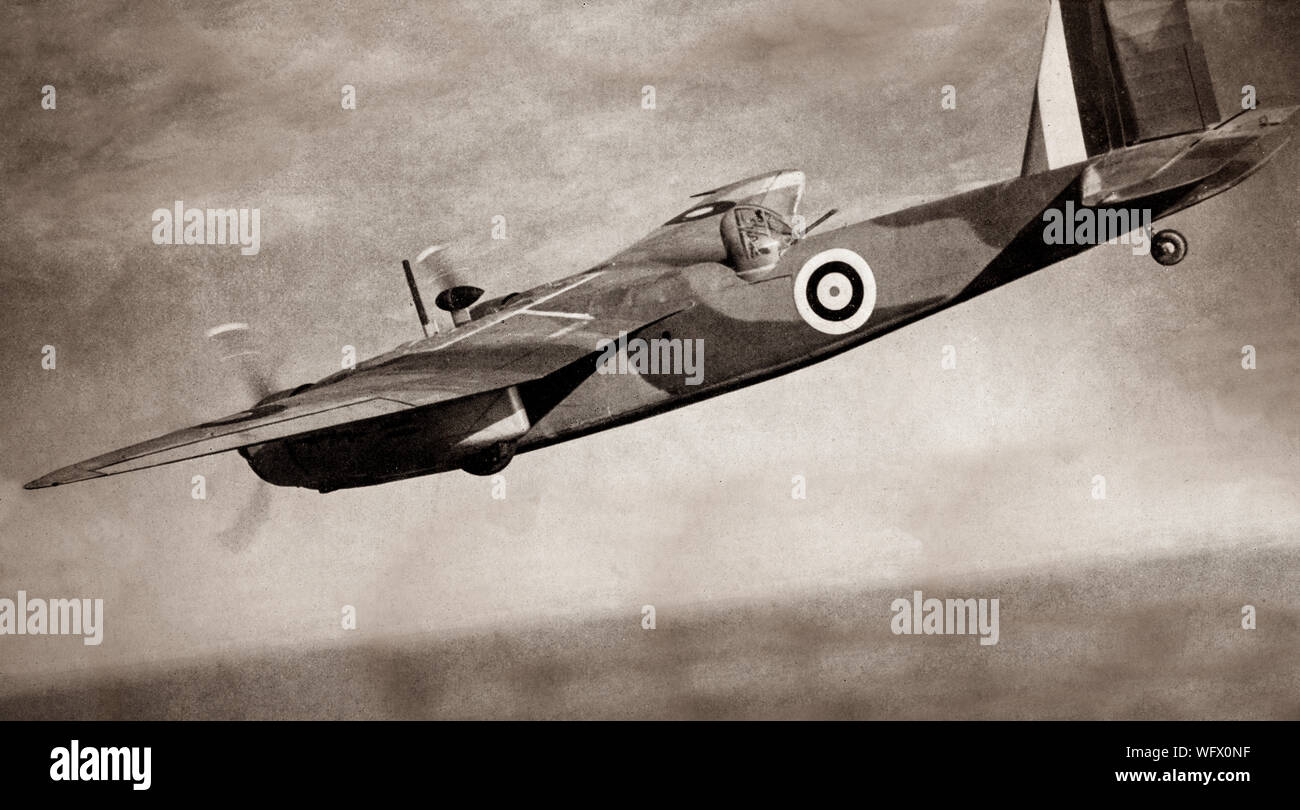 The Blackburn B.26 Botha, a British four-seat reconnaissance and torpedo bomber. Service testing  showed serious problem, being underpowered with poor lateral stability, while the view to the side or rearward was non-existent owing to the location of the aircraft's engines, the poor view making it useless as a  Reconnaissance aircraft. The Botha entered squadron service in June 1940 with 608 Squadron RAF, the only squadron that used the Botha operationally, on convoy escort duties, until following a number of fatal crashes it was withdrawn from frontline service. Stock Photo