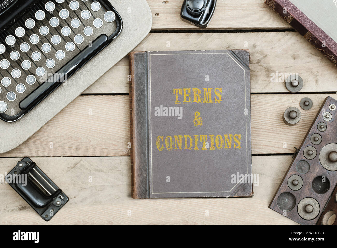 Directly Above Shot Of Various Vintage Objects On Wooden Table Stock Photo