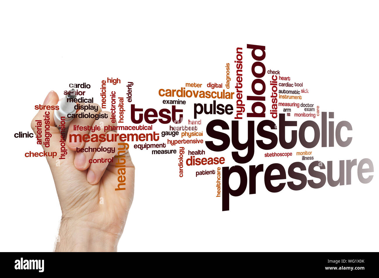 Systolic pressure word cloud concept Stock Photo