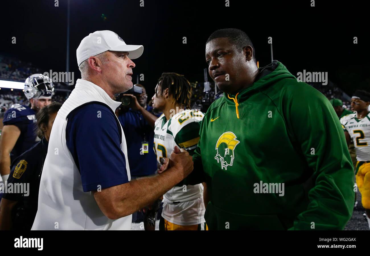 promo code 10f7e a4872 August 31, 2019: ODU Monarchs Head Coach Bobby Wilder shakes ...