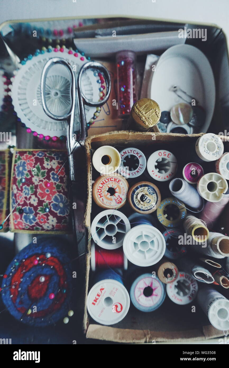 Directly Above Shot Of Sewing Items In Box Stock Photo