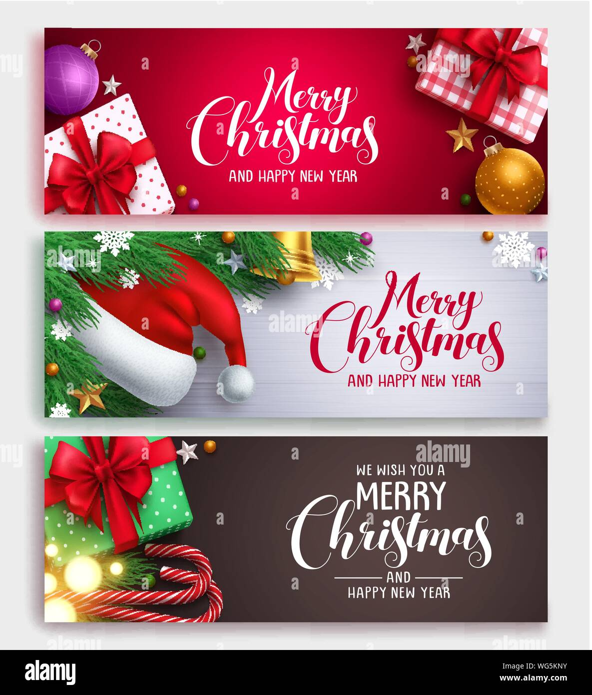 Christmas Vector Banner Design Set With Colorful Backgrounds Christmas Elements And Christmas Greeting Text In White Space Vector Illustration Stock Vector Image Art Alamy