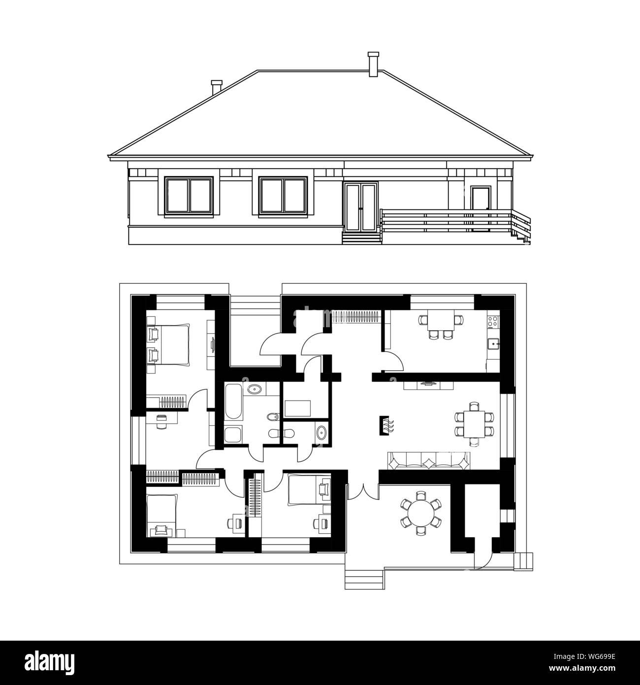 Architectural Project Of A House Drawing Of The Facade And Floor