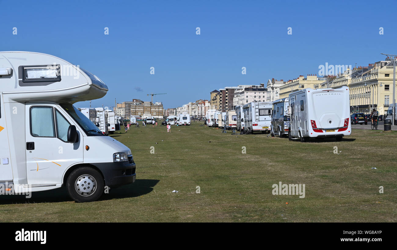 Brighton, UK. 1st September 2019.  An encampment of travellers has arrived on Hove Lawns in Brighton with about 50 vehicles parked on the seafront . The camp has arrived over the weekend and is where a group of homeless are also living in tents . Credit : Simon Dack / Alamy Live News Stock Photo