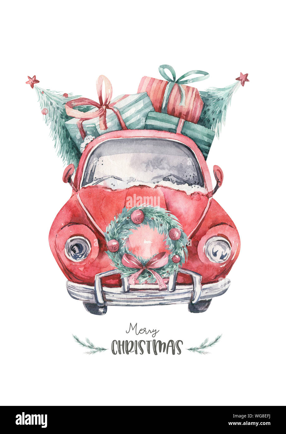 Watercolor Wedding Watercolor Sports Car Holiday Card Holiday Clip Art Car Printable Watercolor Clip Art Christmas Printable